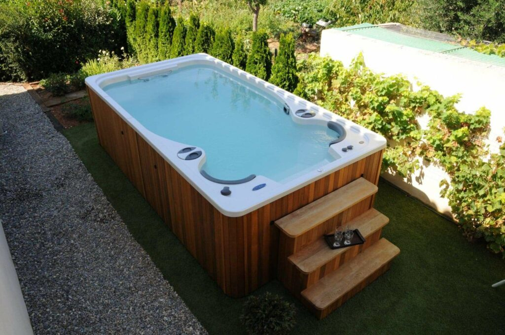 Backyard swim spa