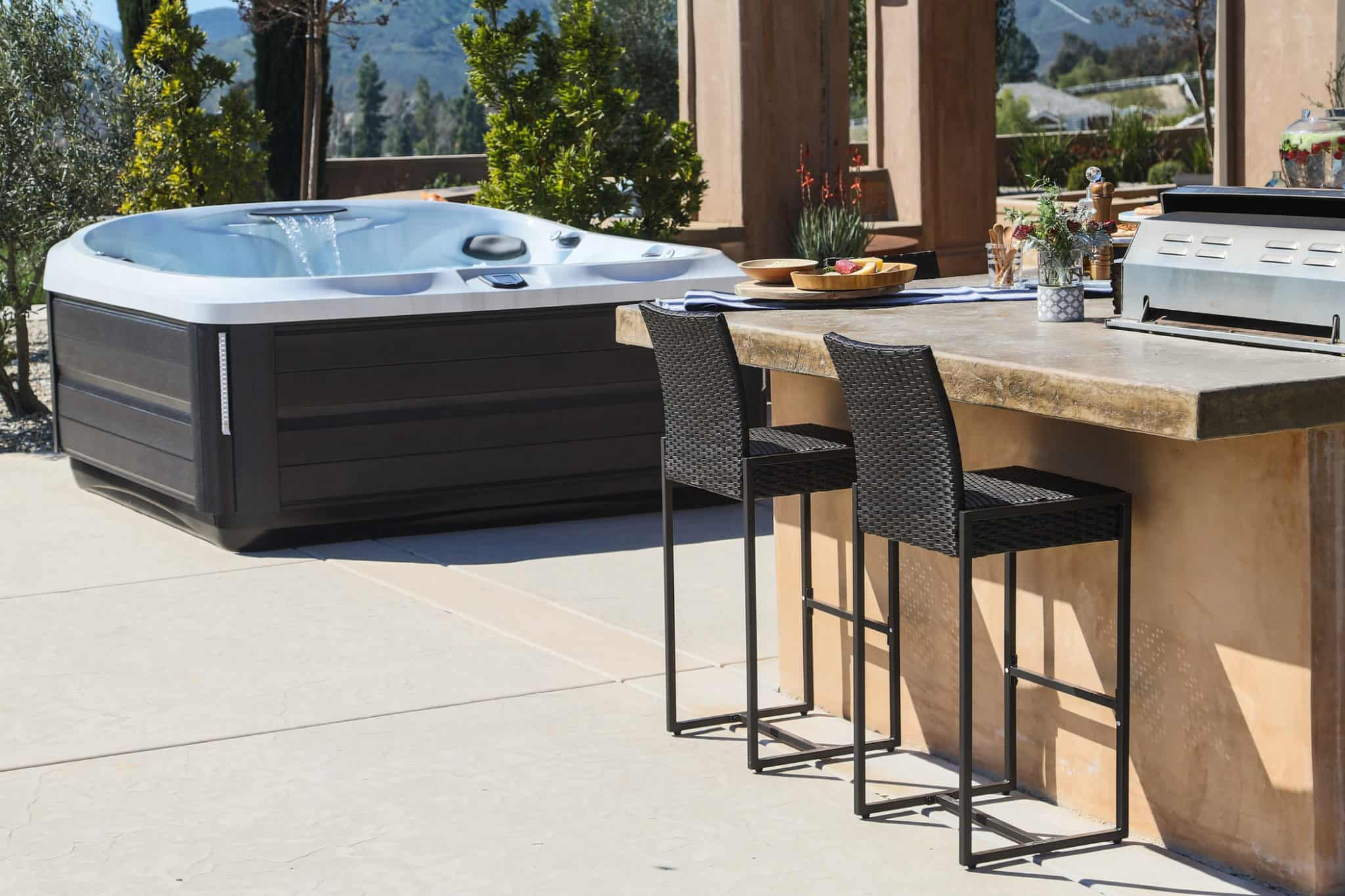 Outdoor hot tub installation on a patio.