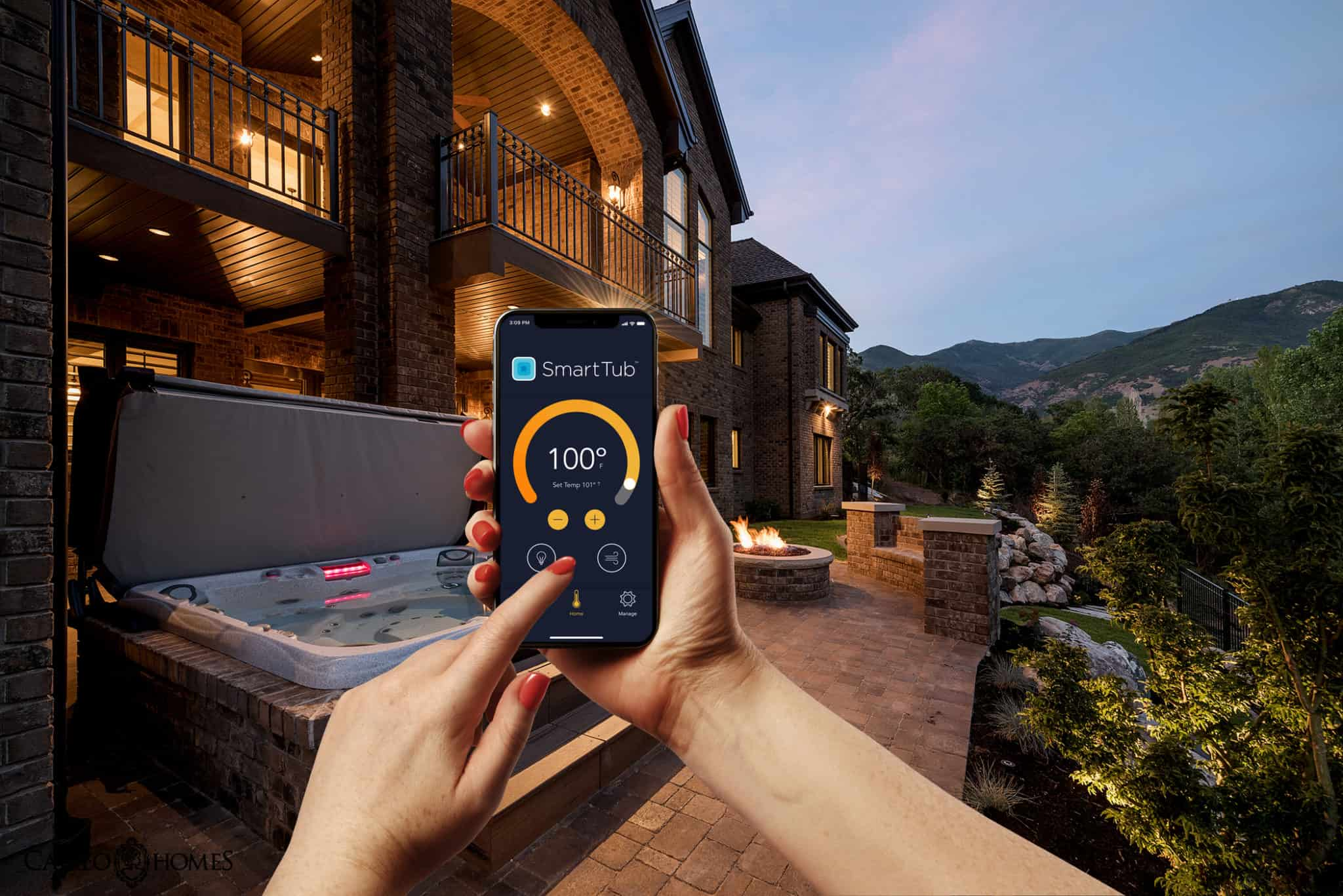 Person using SmartTub System App outside.