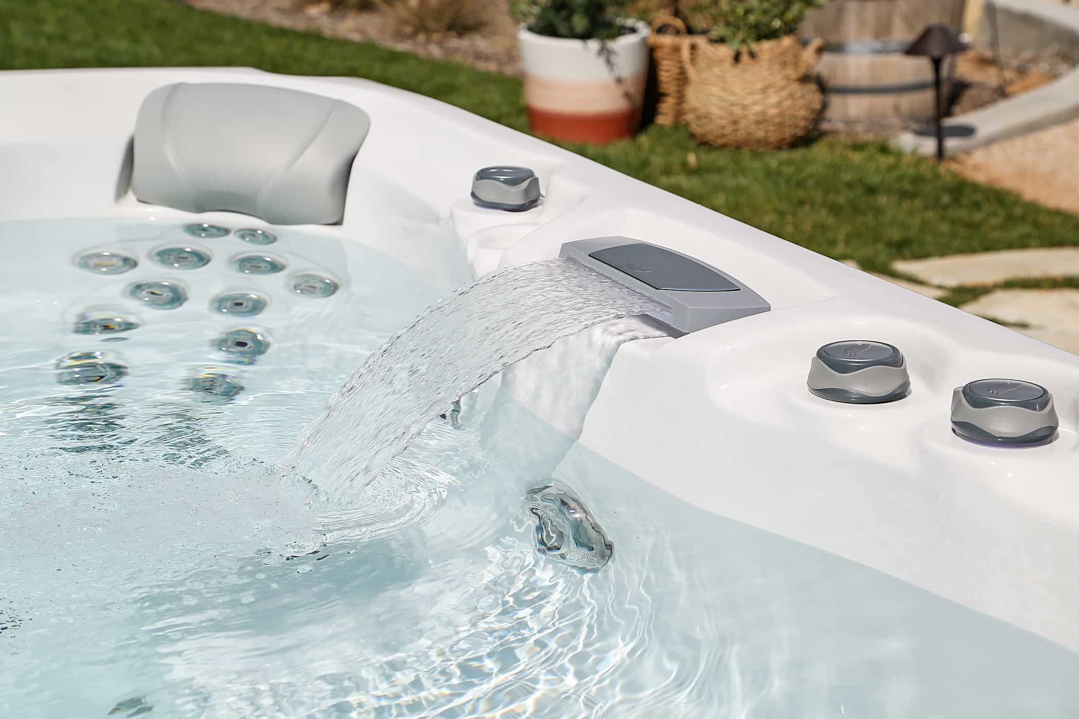 Sundance Spas waterfall hot tub feature
